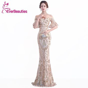 Long Mermaid Evening Dress 2018 Luxury Sequin Gowns Sexy Backless Wedding Guest Long Formal Party Dress Abiye Robe De Soiree