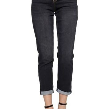 Black Wash Stretch Denim Boyfriend Jeans