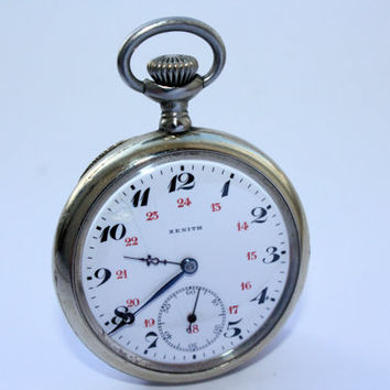 Vintage Zenith Grand Prix Paris 1900 Mechanical Antique Small Swiss Pocket Watch
