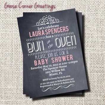 Baby Shower Invitation- Printable-Party-Chalkboard-Rustic-Custom Colors