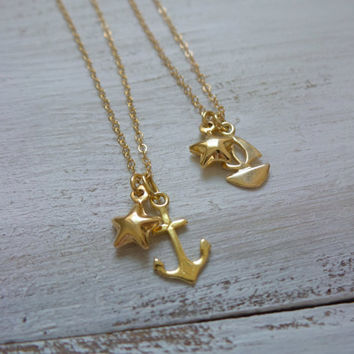 Anchor/Boat Star Necklace by SBC, Vermeil Anchor, Vermeil Star, Vermeil Boat, Delicate Gold Filled Chain, Anchor Star Necklace, Sailor Love