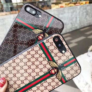 IPhone X phone case Bee Gucci Protector 8plus full Glass Apple 6s Men and Women