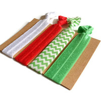 Elastic Hair Ties Red White and Green Chevron Yoga Hair Bands
