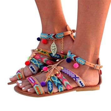 Bohemia sandals Women Summer Shoes Gladiator Leather Beach Flats Shoes Pom-Pom Sandals sandalias mujer chaussures femme ete 2017