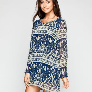 Blu Pepper Boho Print Womens Tunic Dress Navy  In Sizes