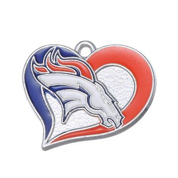 New Arrivals Heart Denver Broncos Charm Dangle Charms DIY Bracelet Necklace Jewelry Football Sports Hanging Charm pendant