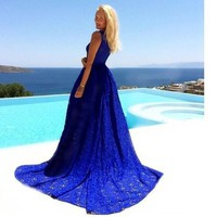Lace Blue Prom Dress One Piece Dress [9515498820]