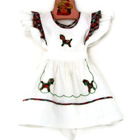 Vintage Baby Dress Pinafore White Cotton with Plaid Trim Rocking Horse Applique