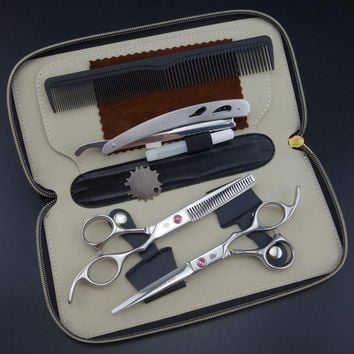 DCCKL72 Smith chu Professional  Hairdressing Scissors set 62HRC  Straight & Thinning cutting with comb, clothes ,oil  S017