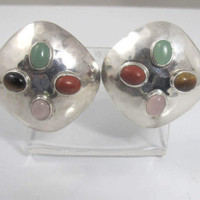 Fer's Mexico Sterling Gemstone Earrings, Hammered Modernist Multi Color Semi Precious Stones Clip Ons, Signed Fer's TB-118 Mexico 925