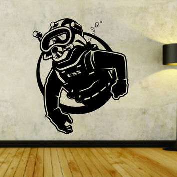 Scuba Diver Diving Logo Vinyl Decal Sticker Wall Boy Girl