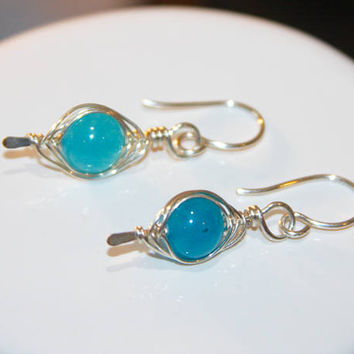 Blue Agate Sterling Silver Filled Earrings with Wire Wrapped Stone, Elegant Dangle earrings, Gemstone earrings, Gifts for Mom