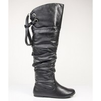 Soda Letta Faux Leather Round Toe Over the Knee Slouchy Boots