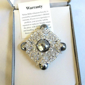 Dark Gray Glass Pearls & Pave Clear Ice Rhinestones Brooch Vintage signed Nolan Miller