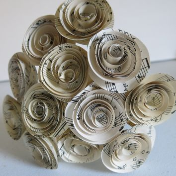 "Sheet music paper flower centerpiece, musical theme party decorations, 1.5"" blooms,  home decor floral arrangement"