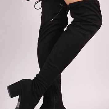 'Uptown' Over the Knee Boots-Black