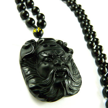 Guan Yu Pendant, Obsidian Pendant, Gold Necklace, Black Necklace, God of War, Beaded Necklace, Sanskrit Necklace, Warrior, Yakuza, Zen Men's