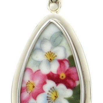 A Spring Flowers Sterling Silver Broken China Jewelry Teardrop Pendant