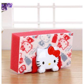 1pcs Cute Hello Kitty Soap Storage Rack Sponge Suction Drying Holder Home Kitchen Bathroom 3C