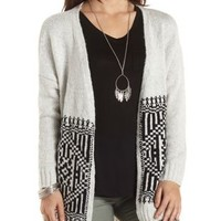 Slub Knit Geometric Tunic Cardigan by Charlotte Russe