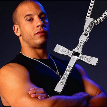 17KM The Fast and Furious Crystal Cross Men Necklaces & Pendants Silver Color Maxi Steampunk collares Vintage Statement Necklace- Best Christmas Gift