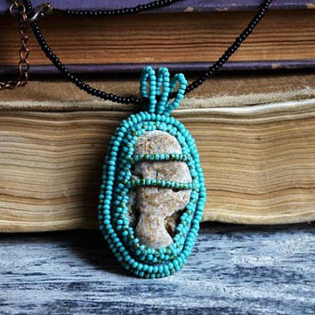 Hag stone necklace Wishing stone Magic beach pebble pendant Handmade Natural jewelry Sea witch necklace Spiritual healing talisman Odin sign