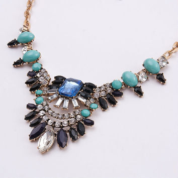New fashion women ethnic Vintage fine costume jewellery Water Drop shourouk style Choker sapphire statement necklace