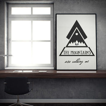 """The Mountains are Calling Me - Decorative Calligraphy Triangle Scandinavian Design - 24 x 36"""" Modern Inspirational Poster / Aztec Wall Art"""