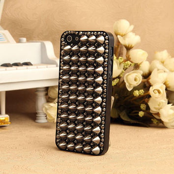 3D Studded Phone Case Black Crystals Cover for iPhone 5 4S 3GS