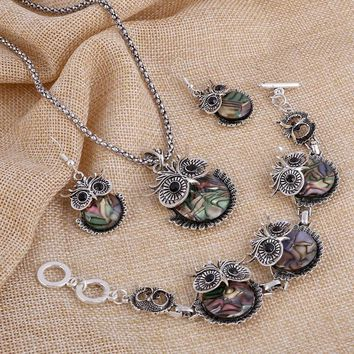 Vintage Abalone Shell Owl Jewelry Set