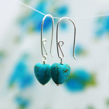 Turquoise earrings  silver heart earrings  turquoise by AAprill