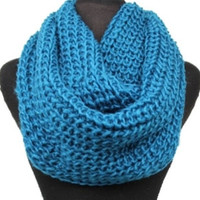 Big Thick Warm and Cozy Solid Crochet Turquoise Infinity Scarf