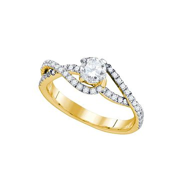 14kt Yellow Gold Womens Round Diamond Solitaire Twist Bridal Wedding Engagement Ring 3/4 Cttw
