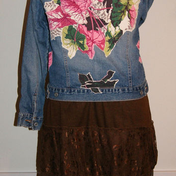 Distressed Denim Jacket Jean Jacket Shabby Chic Upcycled Boho Clothing Vintage Barkcloth L