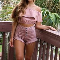 Nightfall High Rise Taupe Frayed Hem Shorts