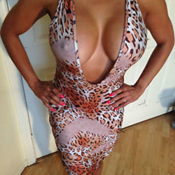 Sexy Bodycon Clubwear Animal Print Deep V Plunge Party Dress M