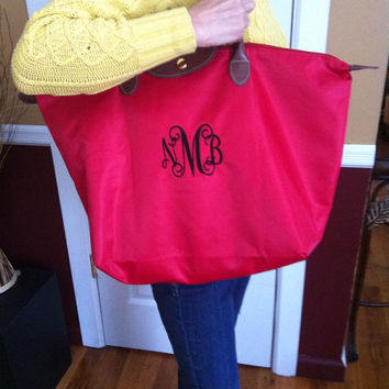 "Large Monogram Tote Bag - ""Longchamp"" Inspired Nylon Handbag- Makes a great bridesmaid gift, bridal party gift"