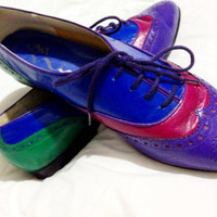 Multi-colored Women's Oxford lace up shoes size 7 1/2.