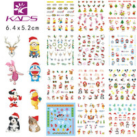 KADS LARGE CZ49-60 one set (12 sheet) Christmas Water decal Nail Stickers Christmas Cartoon design nail sticker accessories