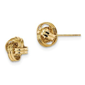 14K Yellow Gold Polished Love knot Post Earrings