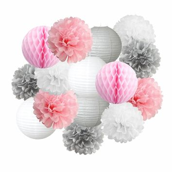 PINK GRAY PARTY Decoration Set | Pink and Gray Party Poms & Lantern | Girls Birthday Party| Girls Baby Shower | Pink Cake Smash | Wedding