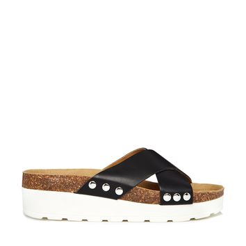ALDO Jili Black Leather Footbed Flat Sandals