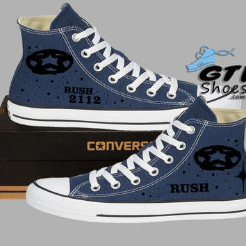 Hand Painted Converse Hi Sneakers. Rush 2112 Music Band. Alex, Neil, Geddy. Handpainted shoes.