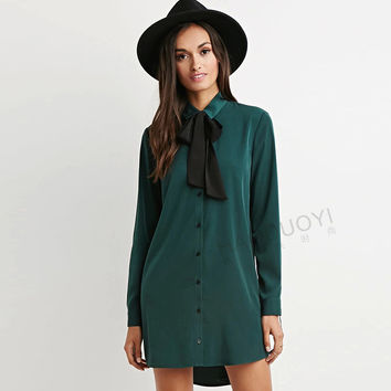 Button Down Long Sleeve Bow Tie Shirt Dress