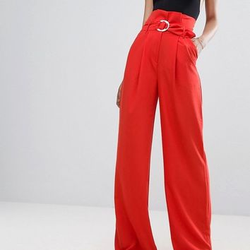 ASOS TALL EXCLUSIVE Wide Leg Pant With Paper Bag Waist And D-Ring Detail at asos.com