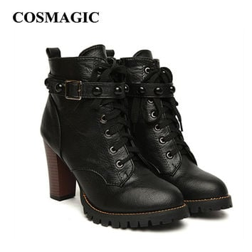2017 New Winter Women Black High Heel Martin Boots Buckle Gothic Punk Ankle Motorcycle Combat  Boots Shoes Free Shipping