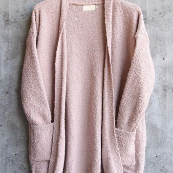 dreamers - pink boucle cozy open front cardigan Day-First™