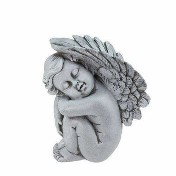 "7"" Heavenly Gardens Gray Left Facing Sleeping Cherub Angel Outdoor Patio Garden Statue"