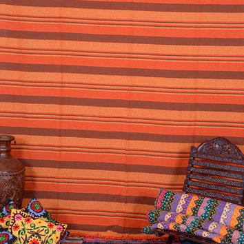 Large Tapestry Bedspread, Hand Loomed Cotton Bedding, Striped Fabric, Orange Throw Blanket, Boho Tapestries, Wall Hanging Tapestry