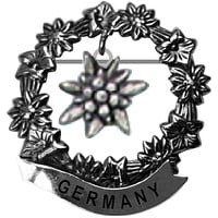 German Edelweiss Medallion Hat Pins for German Hat